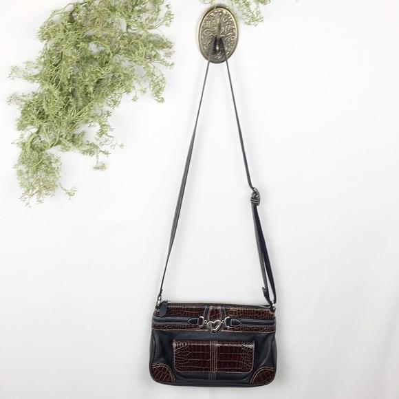 Brighton Handbags - Brighton Black And Brown Croc Crossbody 🌿